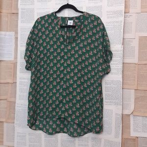 CAbi new tag green floral dolman sleeve blouse XL